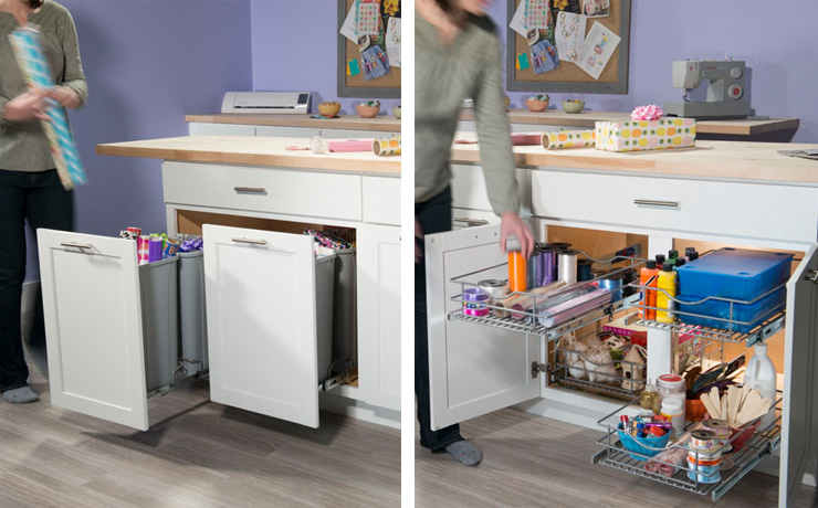 A craft room needs lots of storage, like these organizers from Simply Put
