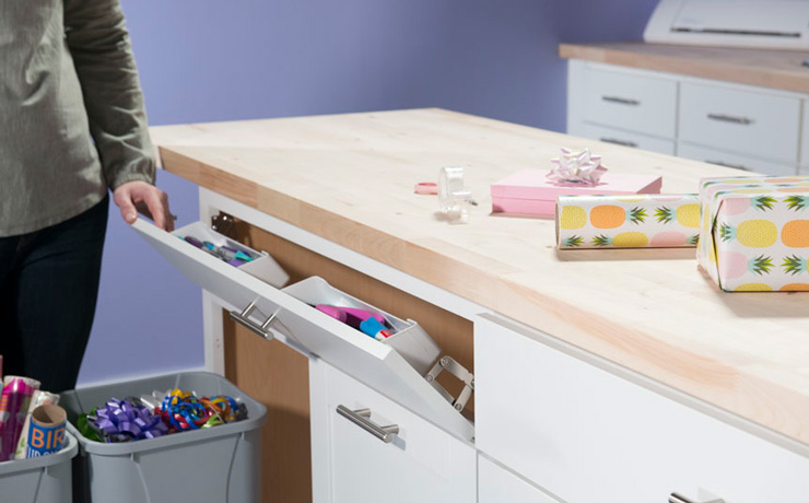A sink front tray from Simply Put is handy for storing markers, pencils, scissors and more