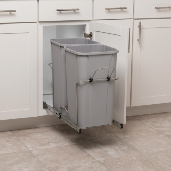 Double 27 qt Pullout Waste Bins